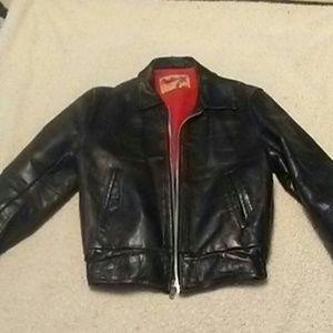 Vintage 40's Horsehide Black Leather Bomber Jacket